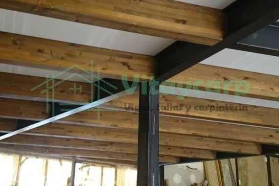 Estructura Metálica Con Vigas De Madera Para Forjado Vitaycarp